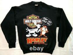 1993 Harley Davidson Vintage Men's Sweatshirt Looney Tunes Bugs Bunny Taz SZ LG