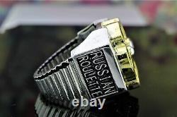 925 Sterling Silver Heavy Men's Biker Ring HARLEY DAVIDSON Russian Roulette