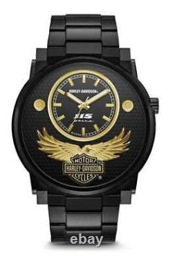 Bulova Harley Davidson Men's Black and Gold Anniversary Edition Watch 78A119