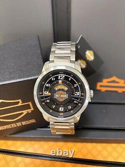 Bulova Mens Harley-Davidson Black Multi-Layer Silver Watch 76A162