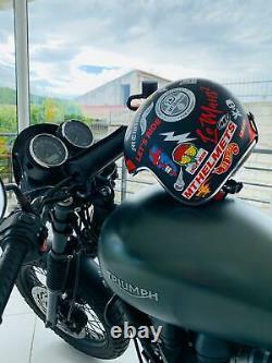 Casco Jet Moto Custom Vintage Harley Le Mans Anarchy Con Sun Visor Omologato Ece
