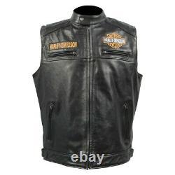 Fashion Mens Real Leather Black Vests Jacket Harley-Davidson Motorcycle