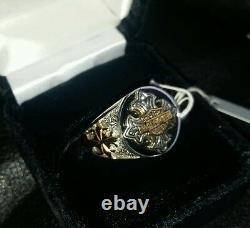 Franklin Mint Harley Davidson Insignia Men's Ring Size 10 11 D4J4223 24K Gold