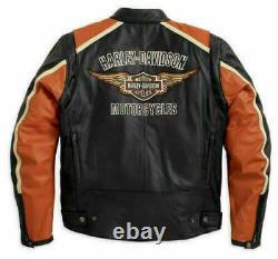 Genuine Mens Harley Davidson Classic Black & Orange Biker Leather Jacket