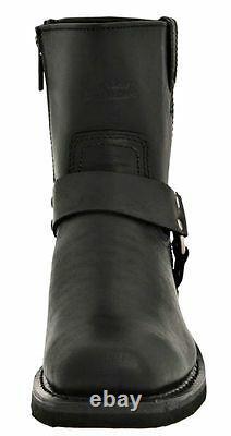 HARLEY-DAVIDSON FOOTWEAR Men's El Paso Harness Zip Black Leather Boots D94422