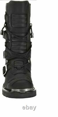 HARLEY-DAVIDSON FOOTWEAR Men's Tall Axel Black Leather Motorcycle Boots D96035