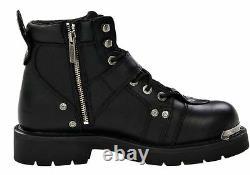 HARLEY-DAVIDSON FOOTWEAR Mens Brake Buckle Black Leather Motorcycle Boots D91684
