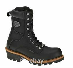 HARLEY-DAVIDSON FOOTWEAR Mens Tyson Logger Black Leather Motorcycle Boots D95188