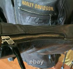 HARLEY DAVIDSON Mens LARGE 115 Year Anniv Vented Leather Racing Jacket VG Cond