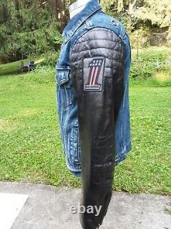 Harley-Davidson #1 Men's Slim Leather Sleeve Denim Jacket Size Medium