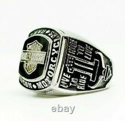 Harley Davidson 925 solid sterling silver Men's Biker Rider Gift ring size 10.5