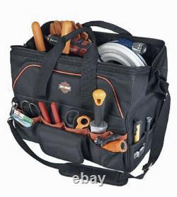 Harley-Davidson Black 39-Pocket Detachable Shoulder Strap Tool Bag 99103-BLACK
