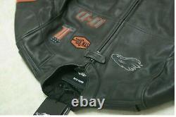 Harley Davidson Black Jacket Screaming Eagle Motorcycle Cowhide Leather bike