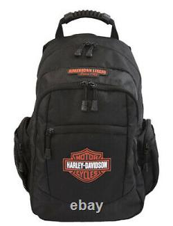 Harley-Davidson Black & Orange 3-D Bar & Shield Classic Backpack BP1932S-ORGBLK