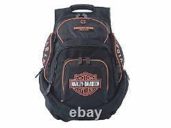 Harley-Davidson Black-Orange Bar & Shield Deluxe Backpack Bag BP1900S-ORG BLK