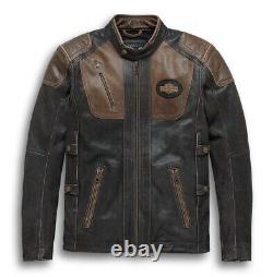 Harley Davidson H-D Triple Vent System Trostel Distressed Leather Biker Jacket