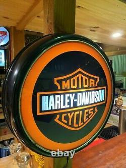 Harley Davidson Illuminated Button Light 240v Perfect Bar Man Cave Hot Rod