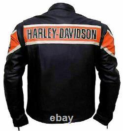 Harley Davidson Jacke Victoria Lane Gear Schwarz Motorrad Lederjacke Herren