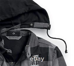 Harley-Davidson Lined Hooded Shirt Gr. XL Schwarz Grau, Hemd Jacke