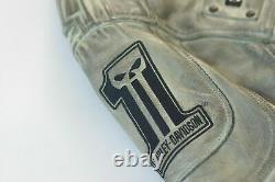 Harley Davidson Me's BLACK LABEL #1 SKULL Grey Leather Jacket 97044-14VM 2XL 3XL