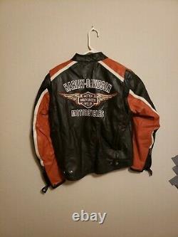 Harley Davidson Men Classic Cruiser Leather Riding Jacket Medium 98118-08vm