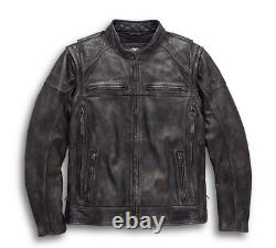 Harley Davidson Men Dauntless Convertible 2 in 1 Genuine Cow Leather Jacket