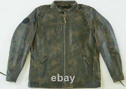 Harley Davidson Men Miramar Distressed Brown Leather Jacket LT L Tall 97128-16VM