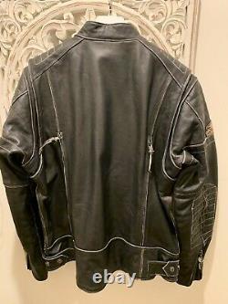 Harley Davidson Men Screamin Eagle Distress Black Leather Jacket XL 98028-18VM