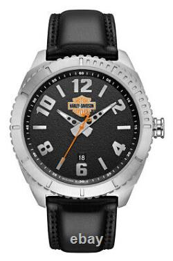 Harley-Davidson Men's B&S Grained Leather & Stainless Steel Watch 76B181