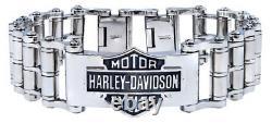 Harley-Davidson Men's Bar & Shield Emblem Bike Chain Steel Bracelet HSB0146