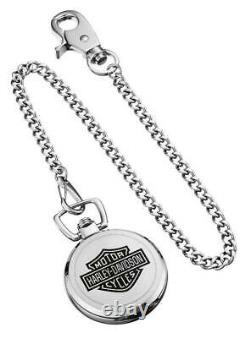 Harley-Davidson Men's Bar & Shield Stainless Steel Pocket Watch with Chain 76A165