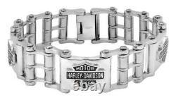 Harley-Davidson Men's Bike Chain Bar & Shield Bracelet, Stainless Steel HSB0207