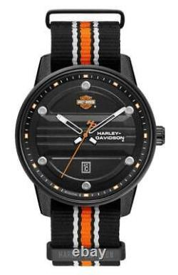 Harley-Davidson Men's Black Dial B&S Logo Watch with Striped Strap 78B153