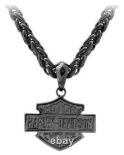 Harley-Davidson Men's Blackout Bar & Shield Necklace, Stainless Steel HSN0062