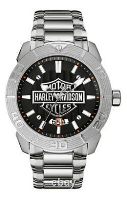 Harley-Davidson Men's Bulova Watch, Embossed Bar & Shield Stainless Steel 76B169