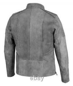 Harley-Davidson Men's Burghal Slim Fit Gray Leather Jacket 98061-19VM