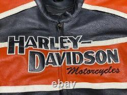 Harley Davidson Men's Cruiser orange black leather jacket size XL