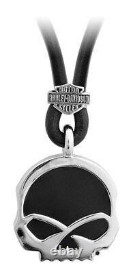 Harley-Davidson Men's Engraved Skull Onyx Necklace, Sterling Silver HDN0412-22