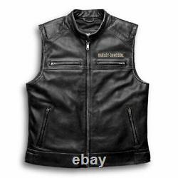 Harley Davidson Men's Genuine Cow Leather Biker Vest Jacket Cafe Racer Black