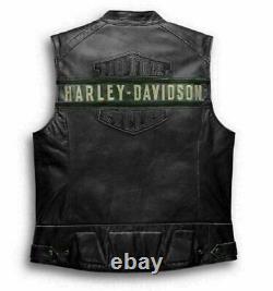 Harley Davidson Men's Genuine Leather Black Biker Vest Jacket Moto Cafe Racer