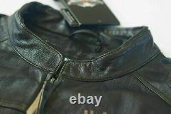 Harley Davidson Men's LONGWAY Wings #1 Vintage Black Leather Jacket M 98089-15VM