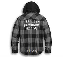 Harley-Davidson Men's Lined Hooded Plaid Slim Fit Shirt Jacket 99007-20VM