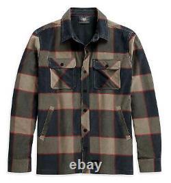 Harley-Davidson Men's Lined Printed Corduroy Plaid Shirt Jacket 96048-21VM