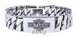Harley-Davidson Men's Long Bar & Shield Steel ID Curb Link Bracelet HSB0142