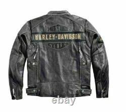 Harley Davidson Men's Motorcycle Vintage Biker Distressed Real Leather Jacket
