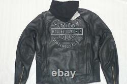 Harley Davidson Men's ROAD WARRIOR B&S Leather Jacket 3in1 Hoodie S L 98138-09VM