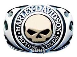 Harley-Davidson Men's Signet Ring, Flames Willie G Skull 14kt Gold Inlay HMR0019