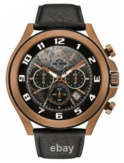 Harley-Davidson Men's Six-Hand Chronograph Watch, Amber Plated Finish 78B148