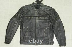 Harley Davidson Men's Spencer B&S Distressed Black Leather Jacket 3XL 97183-14VM