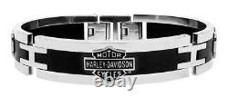 Harley-Davidson Men's Stainless Steel Black Cuff Style Bracelet HSB0001/7.5